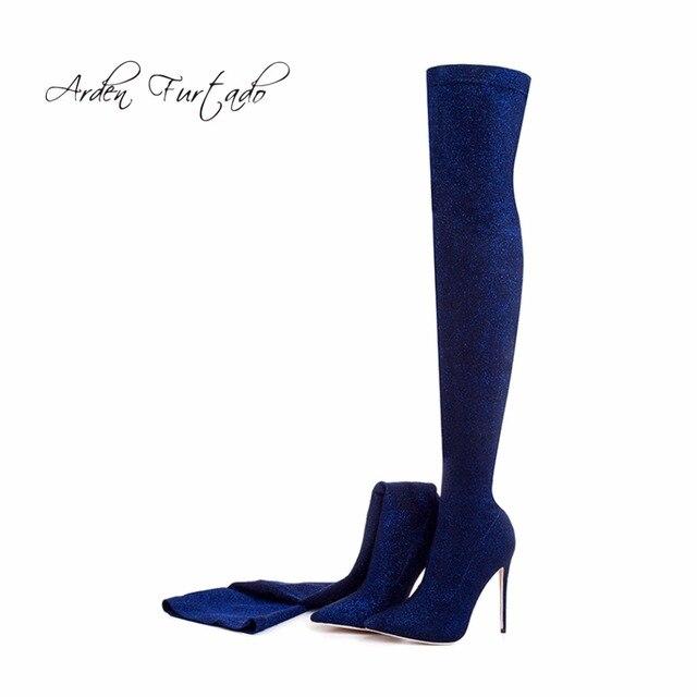 Арден фуртадо 2018 зимние женские синие сапоги выше колена облегающие Сапоги шикарные пикантные Обувь на высоком каблуке с Блестками одежда без шнуровки