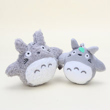 2pcs/lot 13cm /10cm Anime My Neighbor Totoro plush Miyazaki Hayao Anime with Ring Soft Stuffed Doll Totoro keychain Toys(China)