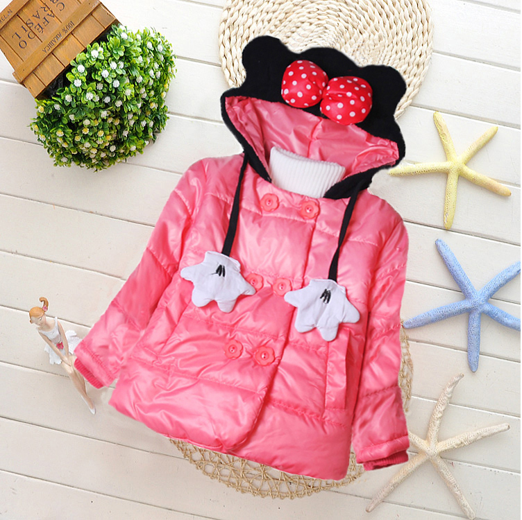 New Children Outerwear Girls Winter Jackets Cotton Kids Coat Baby Girls Hooded Coats Baby Clothing for 2-5Y 3 colors