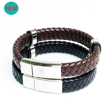 Punk Men Jewelry Black/Brown Braided Leather Bracelet Stainless Steel Magnetic Clasp Fashion Genuine BB047
