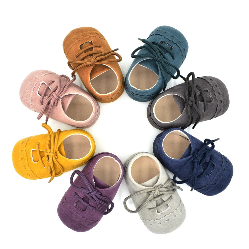 Cute Infant Baby Soft Sole Suede Resistant PU Leather Shoes Boys Girls Toddler Moccasin Shoes High Quality FJ88
