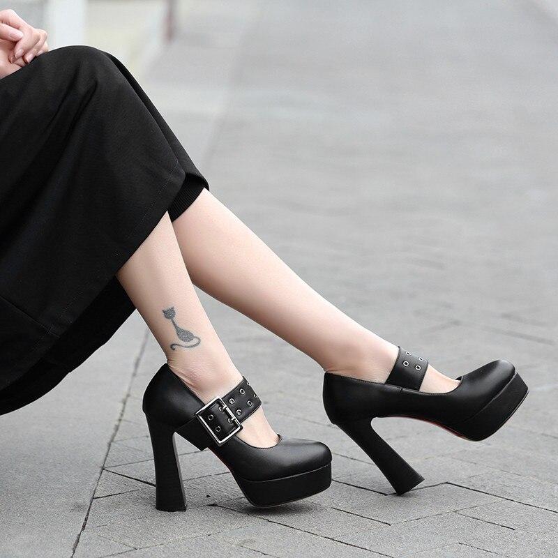 YMECHIC Ladies Black Brown Mary Jane Shoes Platform Hoof Heel Buckle Strap Lady Office Dress Women