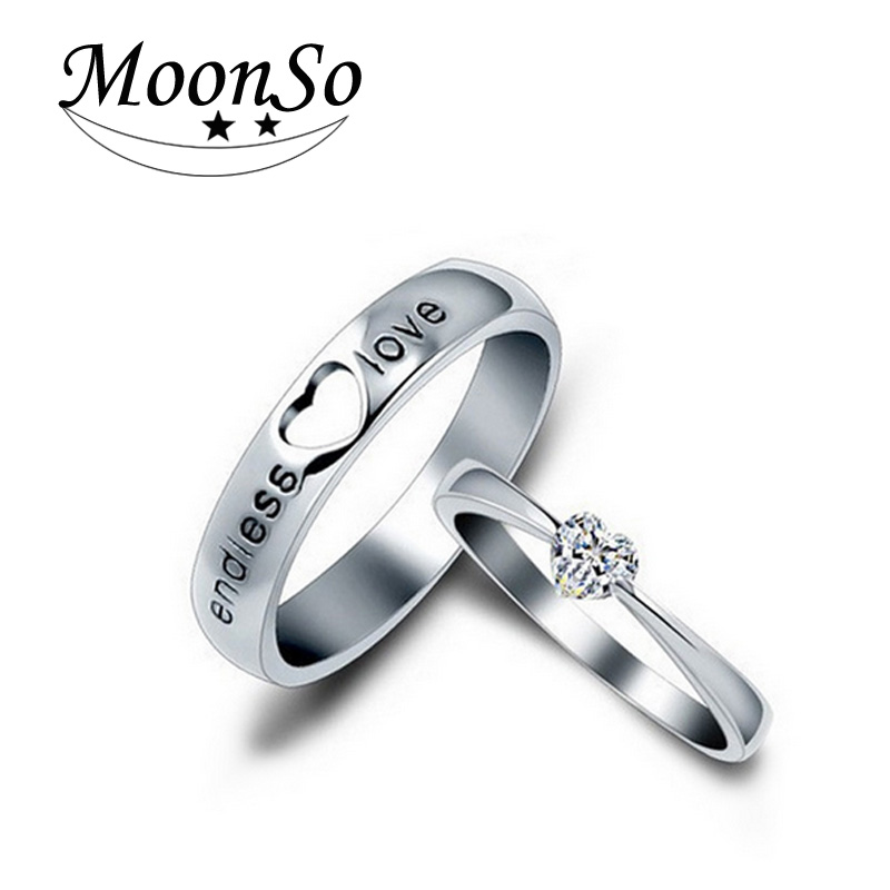 Moonso 925 Sterling Silver Rings CZ Diamond Heart Rings