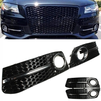 for Audi A4 B8 for VW 2009 2010 2011 Pair Front Bumper Gloss Black Fog Light Cover Grills