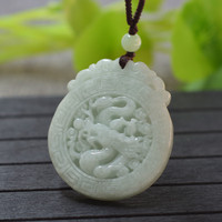(Certificate)Natural Jadeite A Grade Pendant Necklace Carved Chinese Dragon Pendant Gift for Men Jades Stone Jewelry With Rope