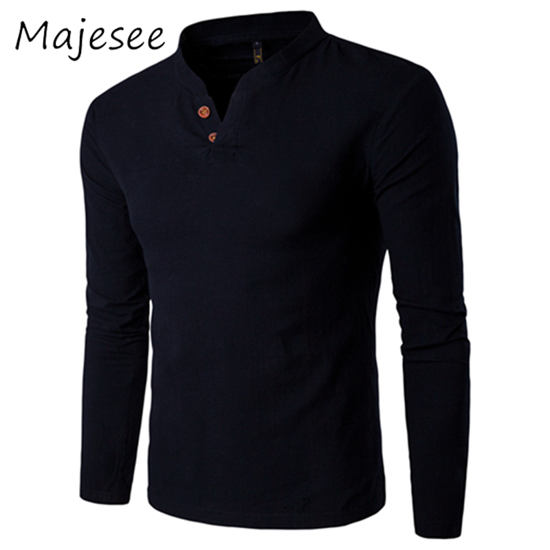 Casual Men Linen Shirts Mens Long-Sleeved Shirt Stand Collar Breathable Male Solid 6 Colors Fit New Fashionable Chinese Style ...