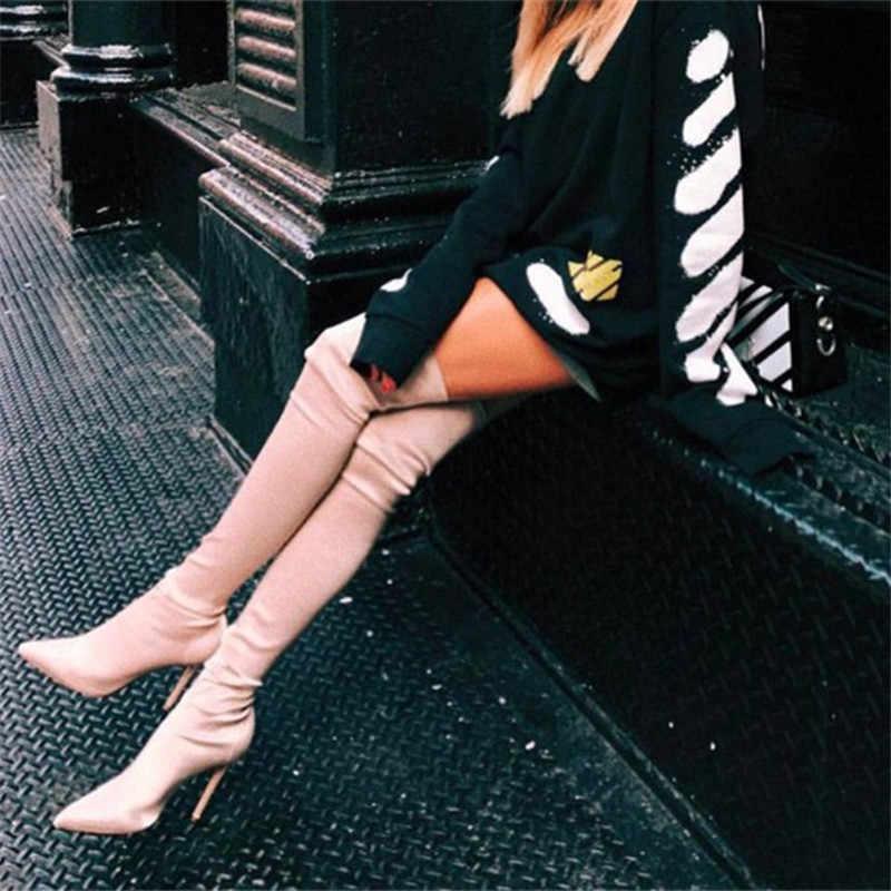 Prova Perfetto 2019 Uyluk Yüksek Çizmeler Diz Üzerinde Elastik Streç Çizmeler botas mujer Seksi Diz Yüksek Topuklu Çorap çizmeler Yeni