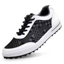 New Men Golf Shoe Mesh Sport Lace-Up Walking Shoe Breathable Non-slip (Black White)