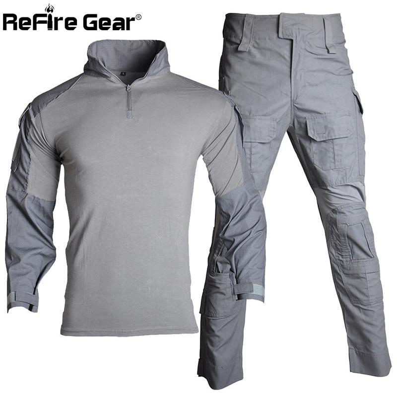 Erkek Kıyafeti'ten Erkek Setleri'de ReFire Dişli Multicam Taktik Üniforma Erkekler ABD RU Ordu Savaş Takım Askeri Airsoft Gömlek + Kargo Pantolon Paintball Camo Giyim set'da  Grup 1