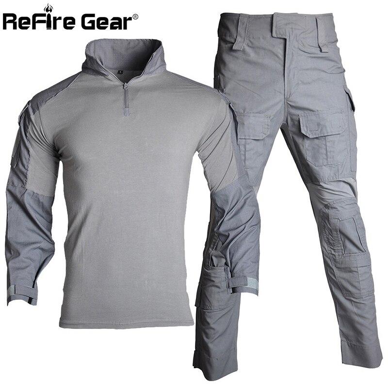 ReFire Gear Multicam Tactical Uniform Men US RU Army Combat Suit Military Airsoft Shirt + Cargo Pants Paintball Camo Clothes Set