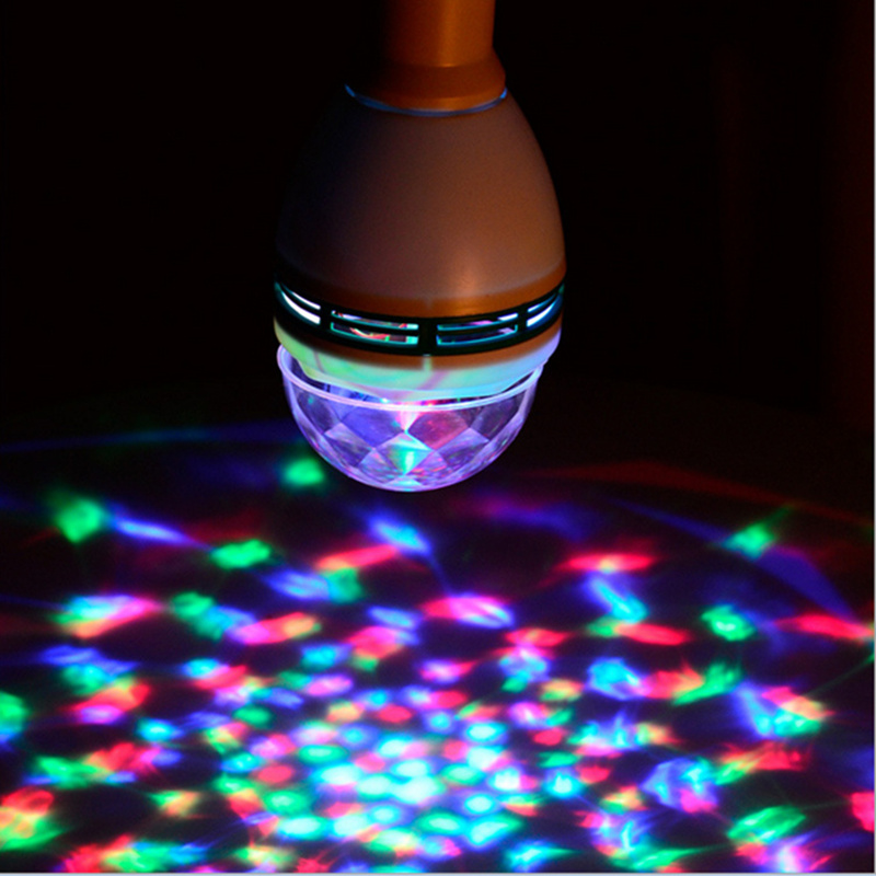 Upgrade E27 3W Crystal Stage Light RGB LED Bulb laser snowflake projector Auto Rotating Lamp Party Holiday Dance disco Bulb