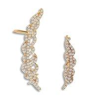 Chicinside Cubic Zirconia Leaves Cartilage Ear Wrap Cuff Stud Earrings Gold Tone