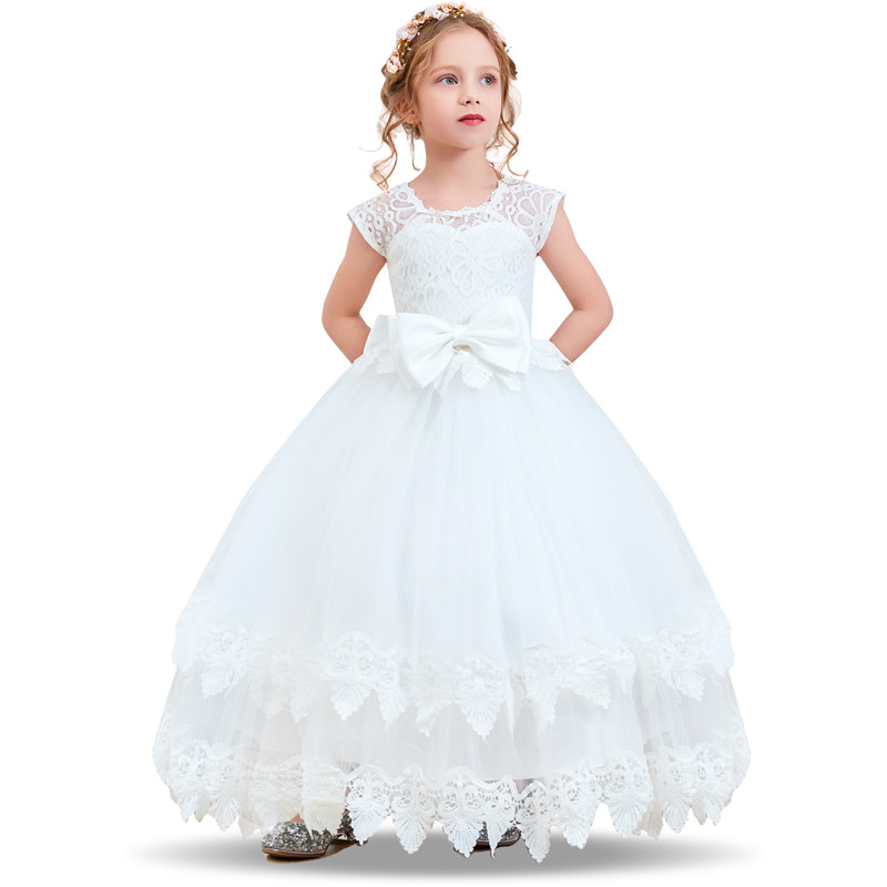 Flower     Girl     Dresses   Gown White Lace Sleeveless Long Wedding Pageant First Communion   Dress   for Big   Girls   Children Formal Wear 12T