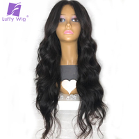 150% Density Wavy 13x6 Lace Front Human Hair Wigs Pre Plucked With Baby Hair Brazilian Non Remy Hair Natural Black for Women