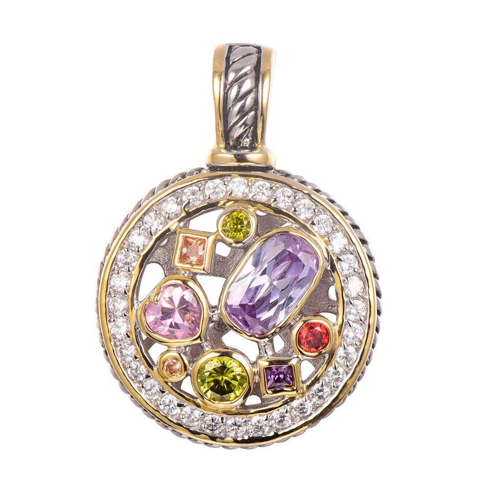 Purple Crystal Zircon Morganite Peridot Pink Crystal ZirconRed Crystal Zircon Pendant 925 Sterling Silver Jewelry Pendant