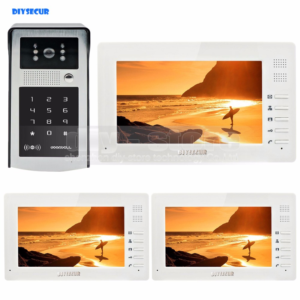1024 x 600 7 inch HD TFT LCD Monitor Video Door Phone Video Intercom Doorbell 300000 Pixels HD Camera RFID Reader + Password 7 inch video doorbell tft lcd hd screen wired video doorphone for villa one monitor with one metal outdoor unit night vision