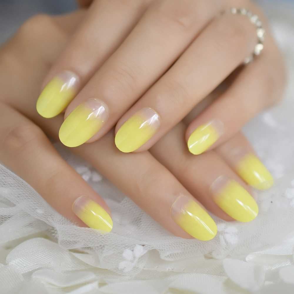 Gradient Lemon Yellow French False Nails Acrylic Artificial Press on Nails Tips Round-head Pattern Nep Nagels Faux Ongles