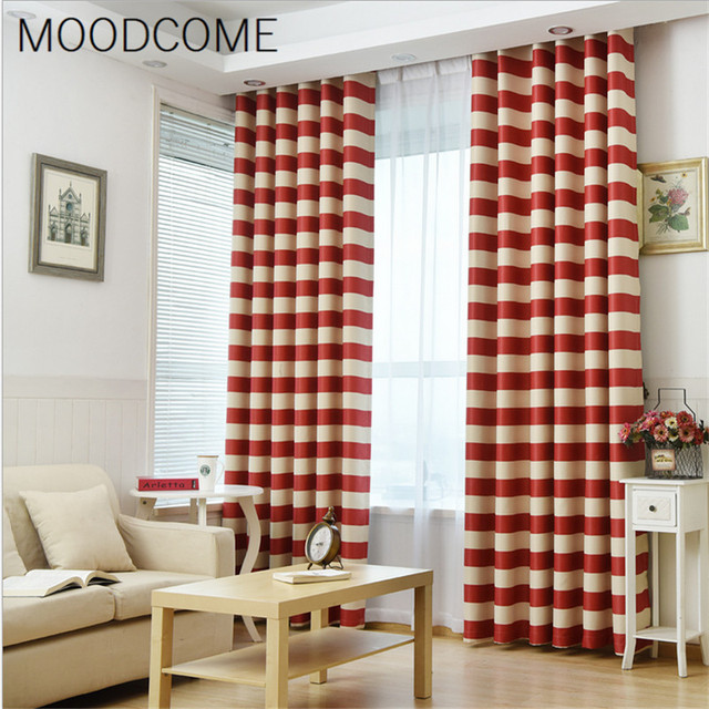 2018 New Curtains For Living Room Shade Cloth Dining Bedroom Study Strip Young Free Red Green Black