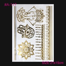 Health And Beauty Tatto Art Coloured Drawing Tatoo Pattern Gold Flash Metal Arm Tattoos Women Adorn Article Temporary Tattoos