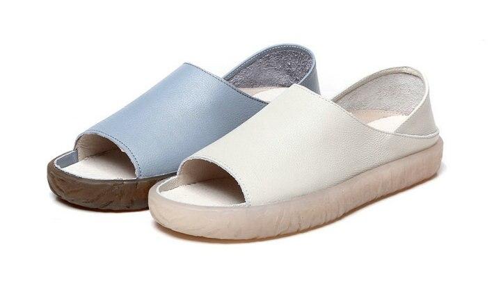 Air Mode En Cuir Non Beige Nouveau Plat slip Plein Femmes Grey Design Chaussures D'été Sandales 2018 light De Loisirs UGLSzVjpqM