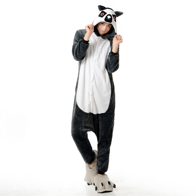Adorable Lemur Soft Flannel Onesie Animal Adult Women Women Warm Kigurumi Pajama Overall Halloween Party Jumpsuit  Sleep Costume (3)