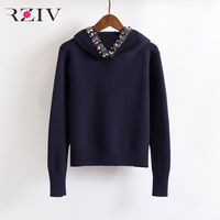 RZIV spring sweatshirt female casual beading decoration solid color hooded sweatshirt