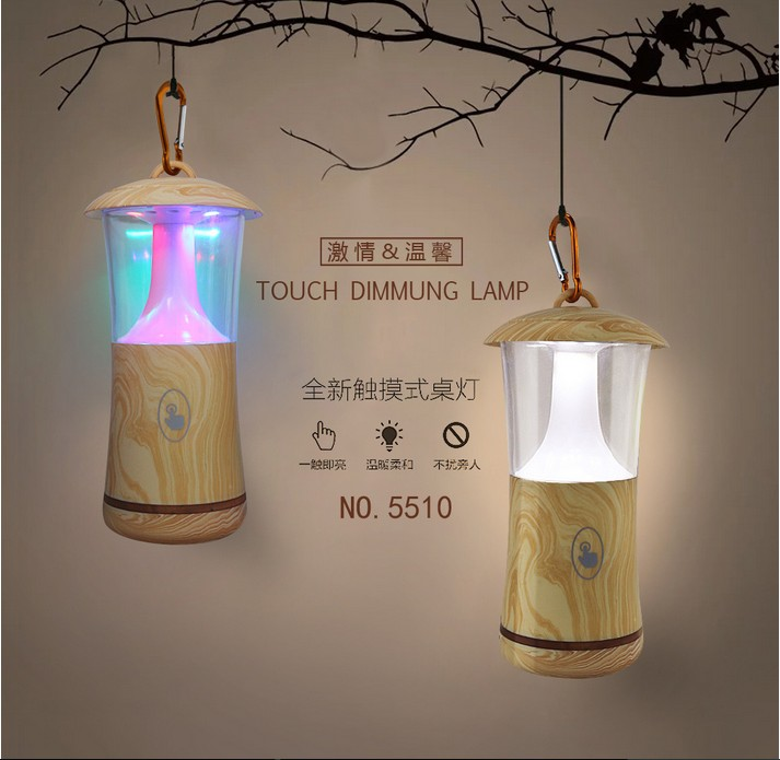 Outdoor Table Lamp Led: Creative Colorful Wooden Night Light Portable USB Recharge