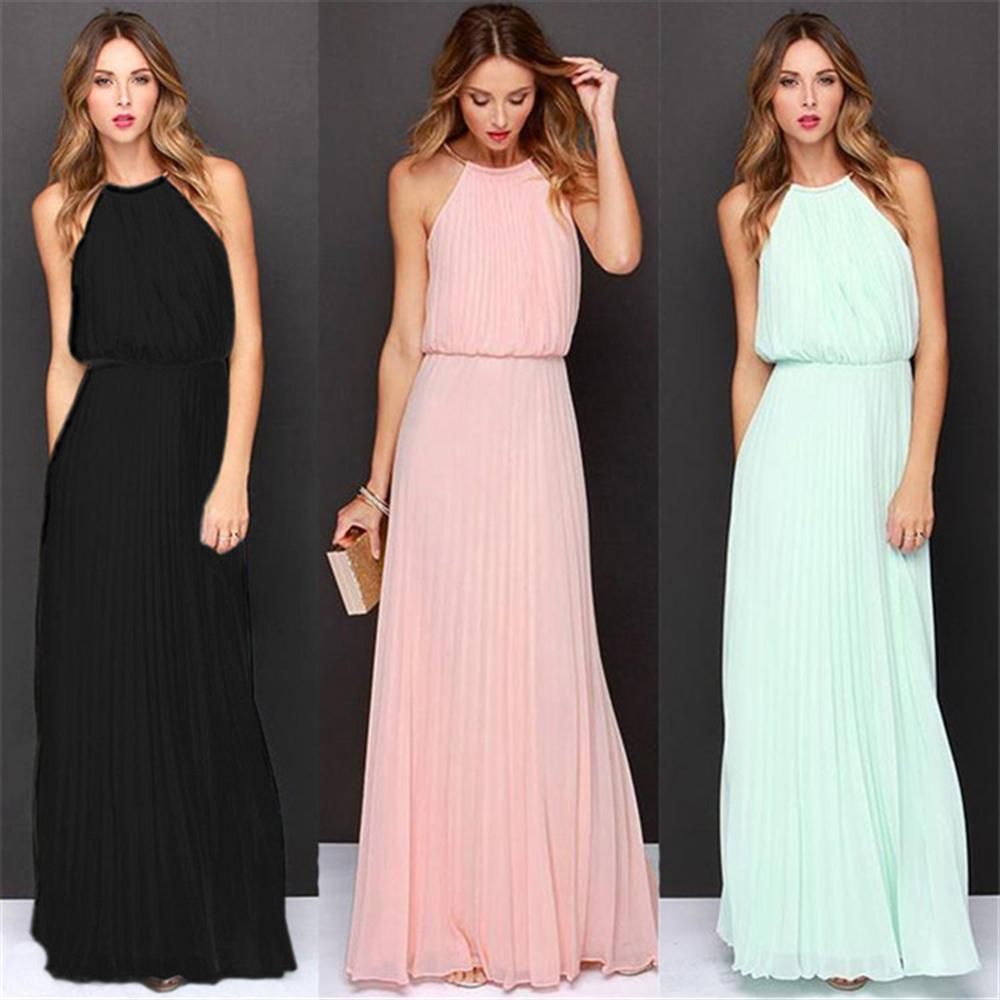 2018 Summer Dress Sleeveless Halter Sexy Pleated Dress Robe Longue Femme Long Slim Dresses Casual Loose Chiffon Dress For Female