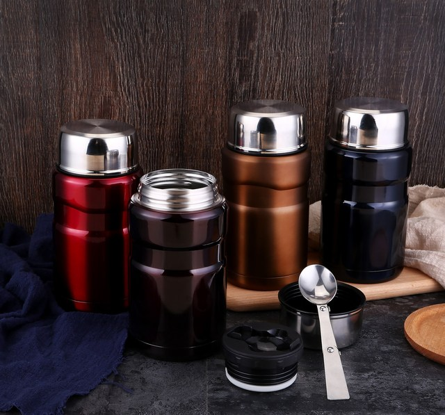 3eb549b5c4c1 US $18.13 37% OFF 700ml Vacuum Food Jar Stainless Steel Food Thermos  Insulated Braised Beaker Food Container with spoon Thermal Lunch Box  DW007-in ...