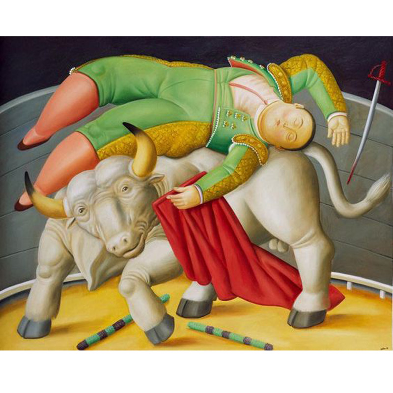 Handmade Fernando Botero fat woman oil painting art on canvas wall for living room art Home Decoration Fat Art Bullfighting