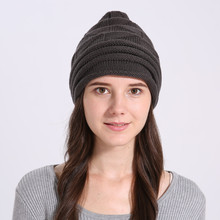цена на warm Knitted Wool Skullies Beanie Soft Outdoor Fall Hat hat with earflaps Thick Baggy Bonnet Hedging Cap women winter beanies