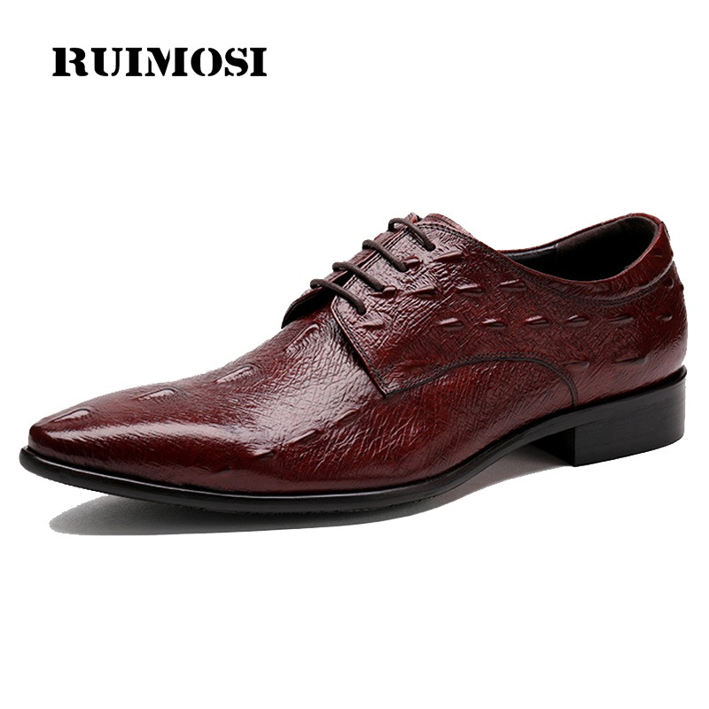 RUIMOSI Italian Crocodile Man Dress Shoes Luxury Genuine Leather Oxfords Pointed Toe Men's Party Wedding Flats For Bridal ZH35