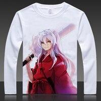 Cartoon Inuyasha Print T Shirts Sesshoumaru Long Sleeve Full T Shirt HigurashiKagome Tops Autumn Tees Clothes