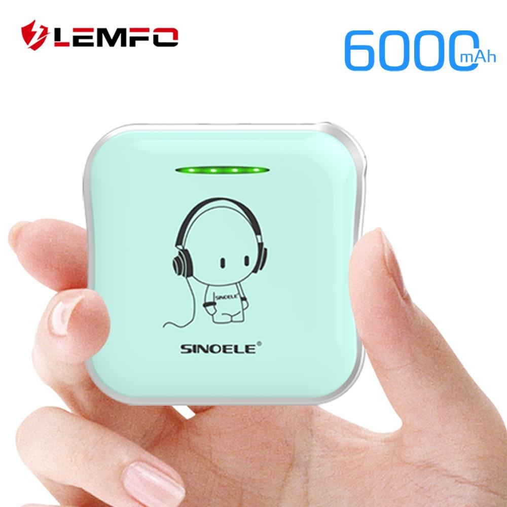 LEMFO DIY lindo Mini Banco de la energía 18650 Powerbank 6000 mAh batería externa 2A rápido de carga portátil para iPhone Xiaomi Huawei