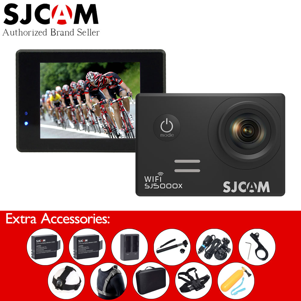SJ5000X 4K Elite Original SJCAM WiFi Sport Action Camera+2 Extra Batteries+Selfie Stick+Many Accessories+Storage Bag+Car Charger sport elite se 2450