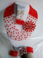 Fashion Red And Clear AB Crystal Necklaces Set Costume Jewellry Nigerian Wedding African Beads Jewelry Set