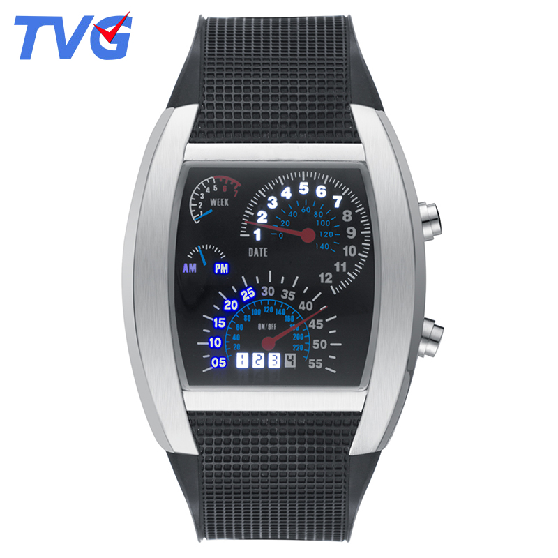 TVG 2017 Multicolor Style Quartz Men Watches Brand Military LED Watch Silicone Men Sports Watches Waterproof
