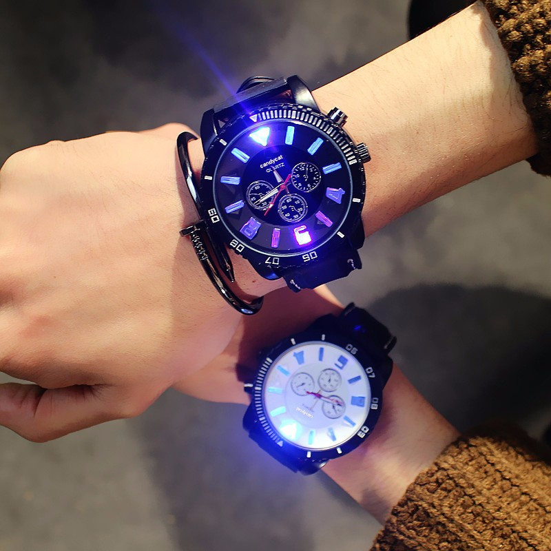 Fashion Men Watches 7 Color Lights Led Glow Watch Men Sports Watches Silicone Band Watches Luminous Large Dial Relojes Hombre