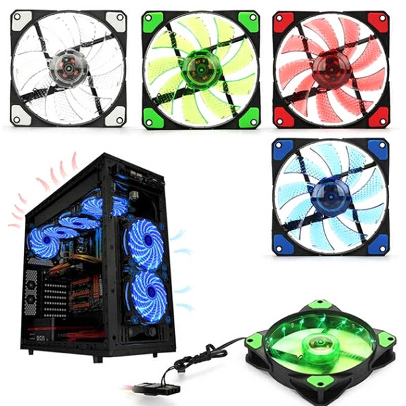 PC Computer Ultra Silent 15 LEDs Fall Fan Kühlkörper Kühler Pc Fan 120mm 12CM Lüfter 12 V DC 120x120x25mm