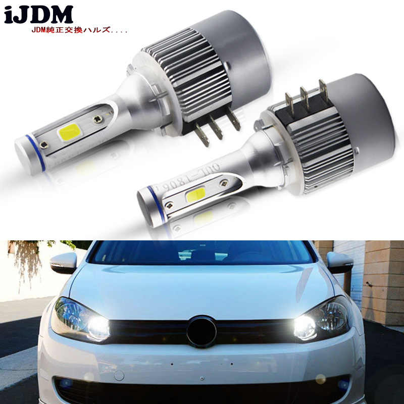 iJDM Car Xenon White H15 LED Bulbs For Volkswagen Audi BMW Mercedes For both the Daytime Running Lights and the high beam mode