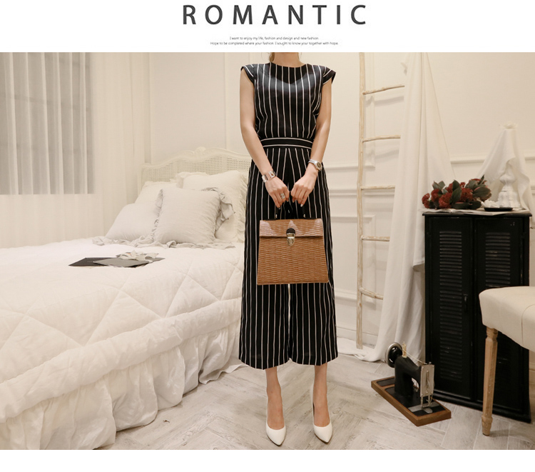 2018 Korean Summer Temperament Sleeveless Two Piece Set Stripe Fashion Wide Legging 2 Piece Set Women 7