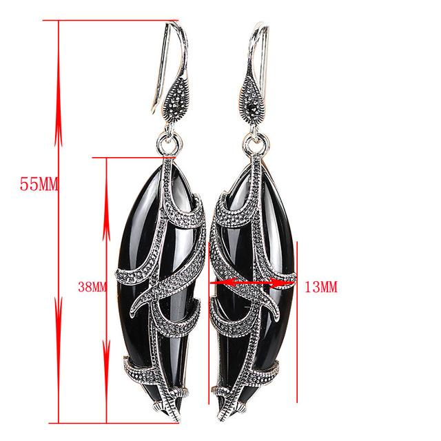 Handmade long silver white chalcedony earrings