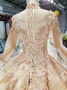 Image 5 - LS474110高級教徒のイブニングドレス長袖ハイネック3D花ゴールデンドバイ女性日のドレス送料無料