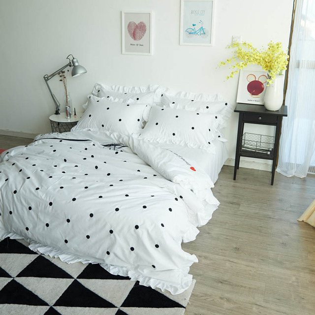 Marvelous Polka Dot Bedding Sets Queen Size Embroidery Duvet Cover Twin Cotton Bed  Sheets 4 Piece Bed