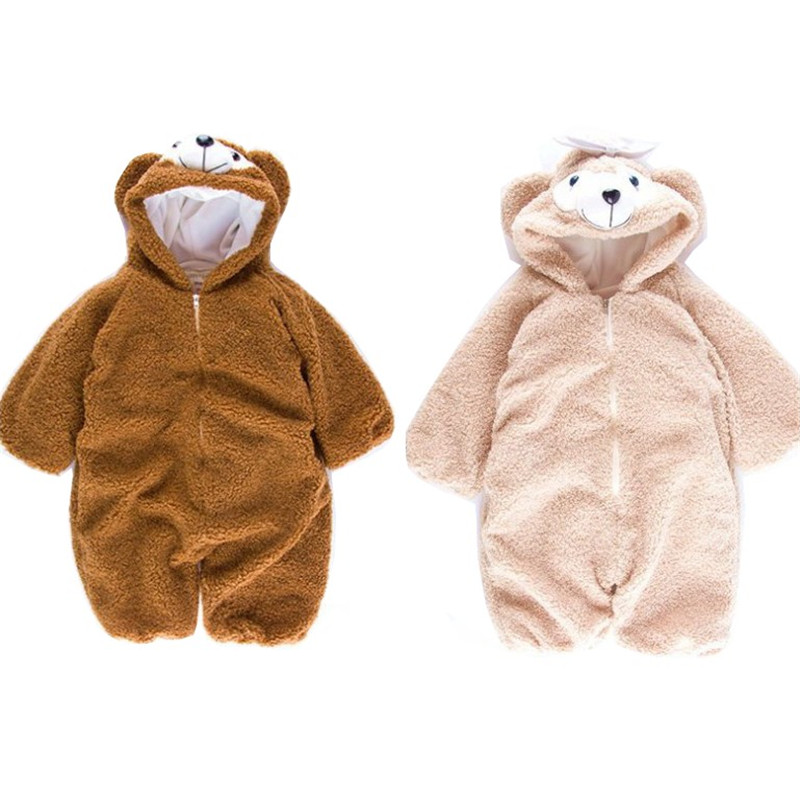Baby Cute Custome Climbing Clothing Children Bear Baby Rompers Home Long Sleeve Winter Clothes Cotton Warm Infant Boys Rompers