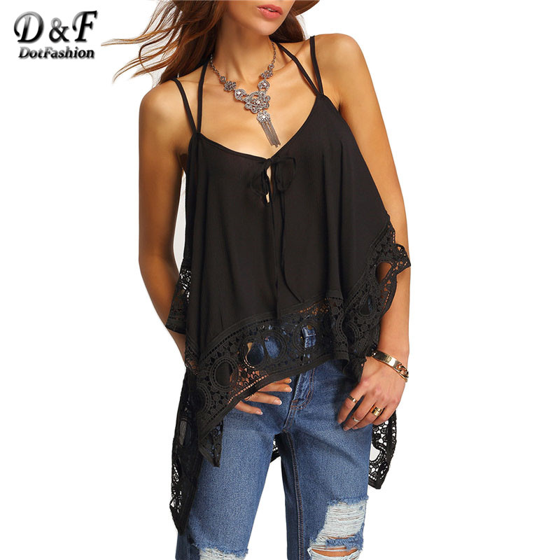 New Style font b Women b font Casual 2016 Clothing Ladies Shirts Sheer Tops Black Lace
