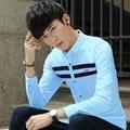 New Spring Casual Men Shirts Full Sleeve Tide Patch Outside Leggings Shirt White Light Blue Sapphire 622