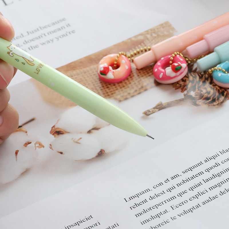 1PC Doughnut Cat Mechanical Pencil Student Automatic Pen For Kid School Office Supply Escolar Papelaria Random Style