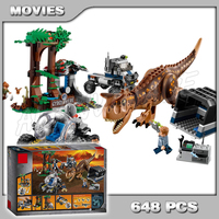 648Pcs Jurassic World Carnotaurus Gyrosphere Escape Velociraptor Model Building Blocks Dinosaur Toys Bricks Compatible with Lego