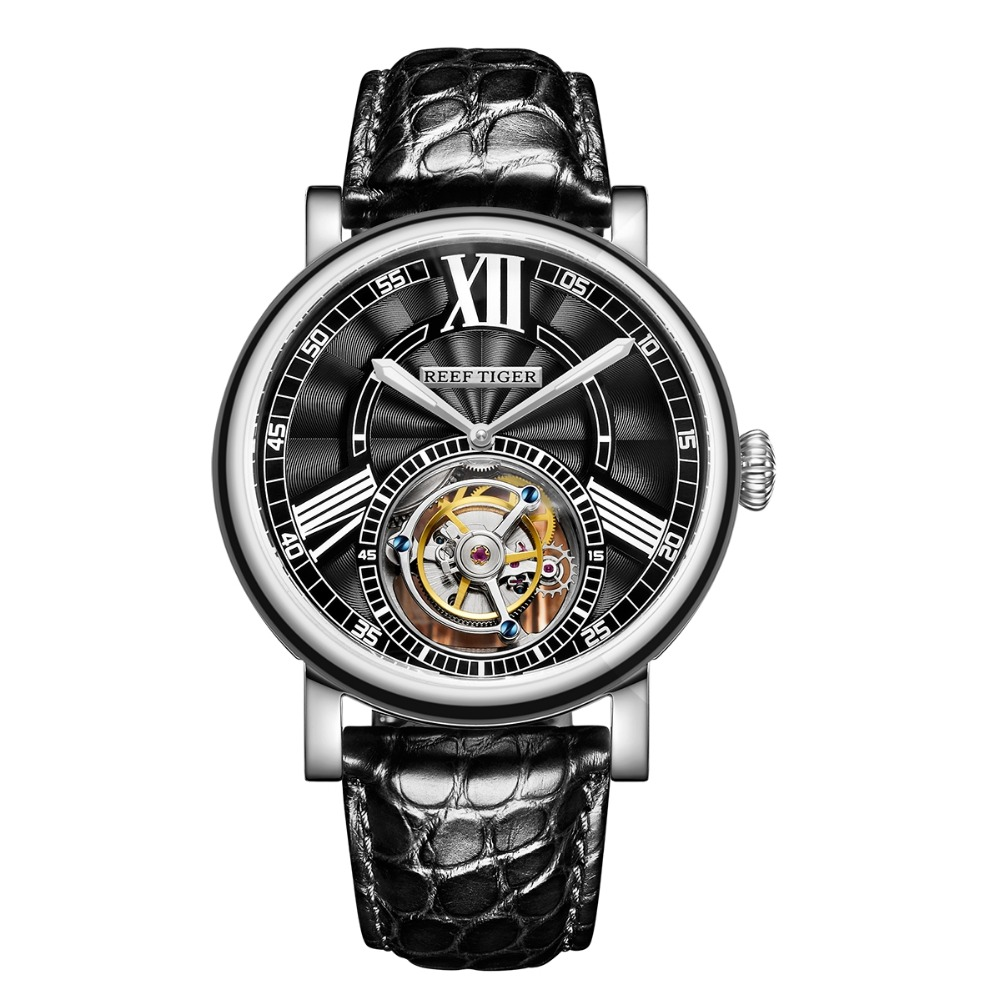 Reef Tiger Classic Serier RGA1999 Men Hollow-out Dial Dress Real Tourbillon Automatic Self-wind Mechanical Wrist Watch - Silver купить недорого в Москве